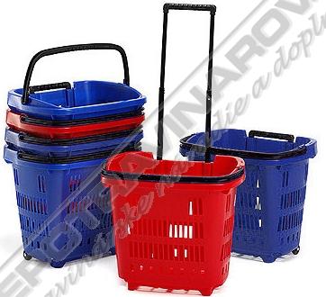 Nákupný košík plastový s kolieskami
